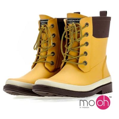 mo.oh愛雨天-綁帶雨鞋中筒馬丁雨靴-黃棕色