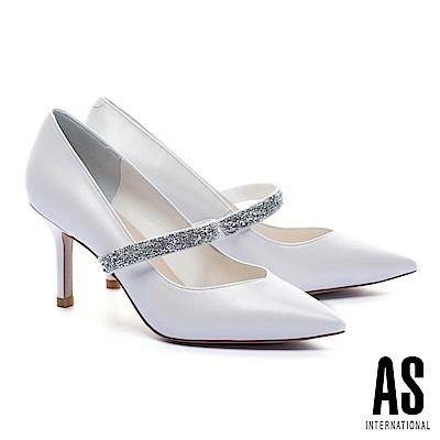 高跟鞋 AS 高雅氣質水晶繫帶珠光羊皮美型尖頭高跟鞋-白