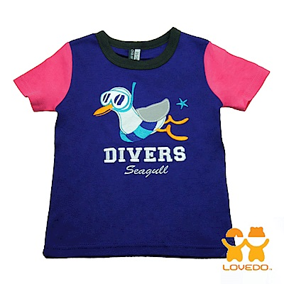 【LOVEDO-艾唯多童裝】海鷗潛水員  拼色短袖T恤 (藍紫)