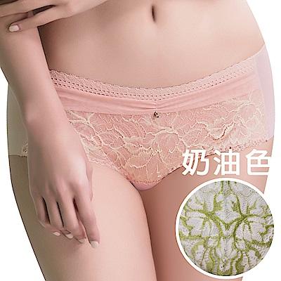 思薇爾 撩波葉之舞系列M-XL蕾絲中低腰平口內褲(奶油色)