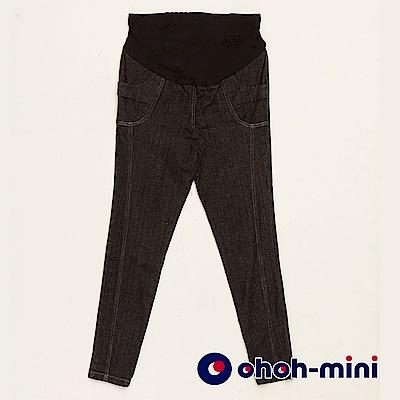 【ohoh-mini 孕婦裝】嬌俏美臀顯瘦窄管牛仔孕婦褲