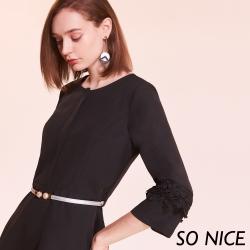 SO NICE都會俐落蕾絲袖拼接洋裝