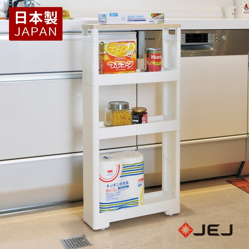 【nicegoods】日本製 JEJ移動式木質頂板收納隙縫架-12CM寬