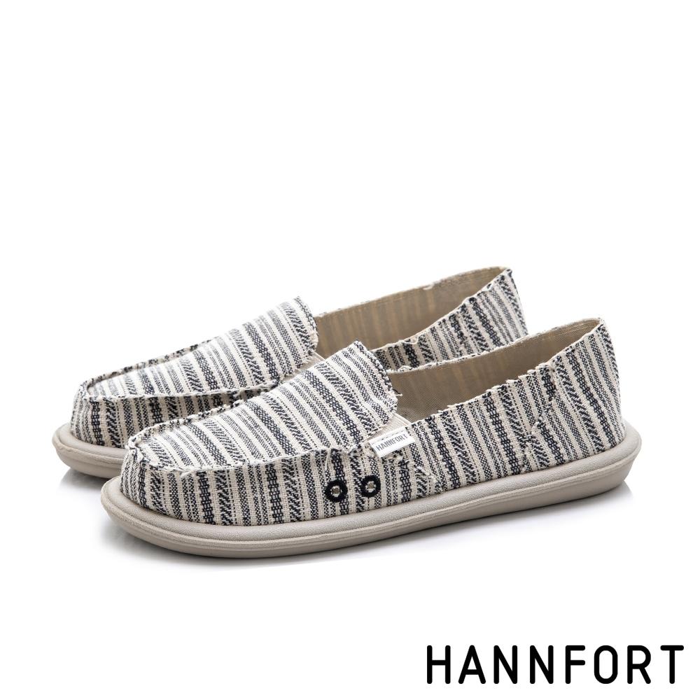 HANNFORT COZY 條紋舒適懶人鞋-女-黑