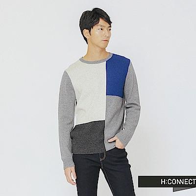 H:CONNECT 韓國品牌 男裝-拼接色塊圓領針織上衣-棕