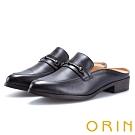 ORIN 復古潮流 金屬飾扣牛皮低跟穆勒鞋-黑色