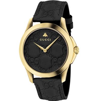 GUCCI 古馳 G-Timeless 雙G皮紋手錶(YA1264034)x黑金x39mm