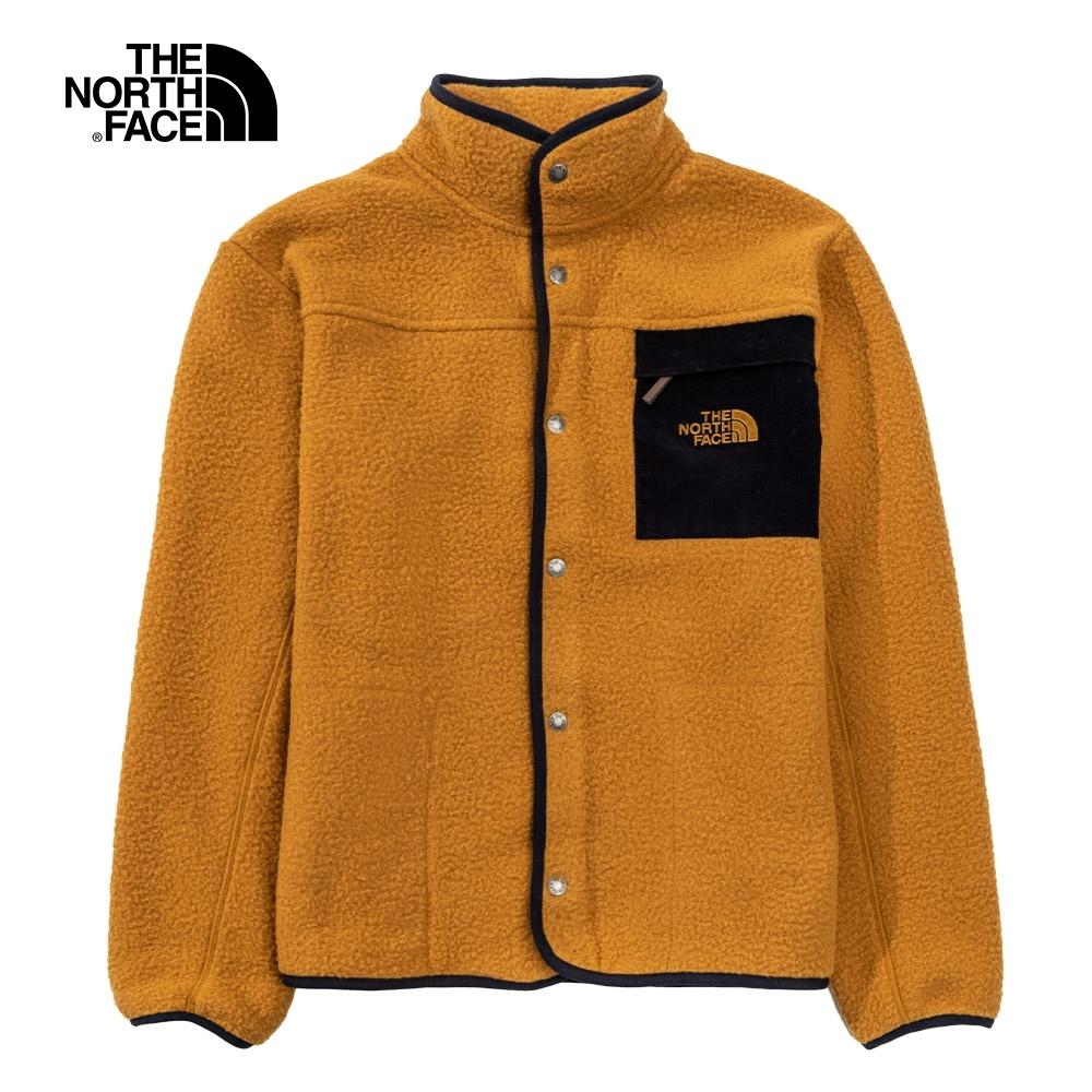 The North Face北面男女款棕色胸前口袋抓絨外套|4NB8VC7