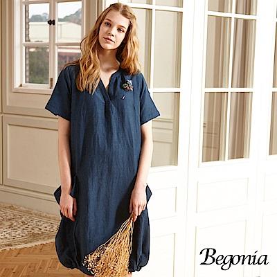 Begonia 開襟造型雙口袋棉麻洋裝(共兩色)
