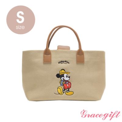 Disney collection by grace gift–唐葳設計迪士尼米奇露營2WAY帆布包S 奶茶色