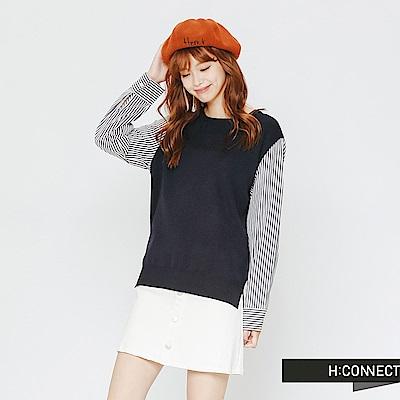 H:CONNECT 韓國品牌 女裝-條紋拼接薄針織上衣-藍