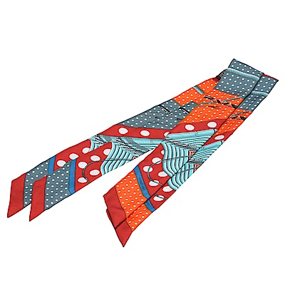 HERMES Clic-Clac a Pois圓點圖案Twilly絲巾領結(紅-一組兩條)