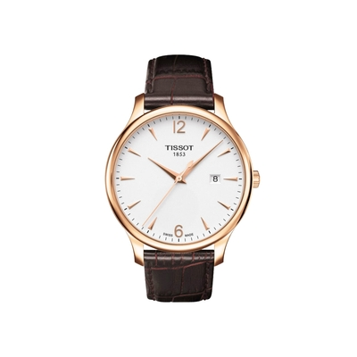 TISSOT Tradition 復刻時尚腕錶-白/42mm T0636103603700