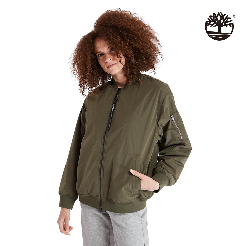 Timberland 女款軍綠色經典泡泡紗棉質寬鬆飛行外套|A2BWQ
