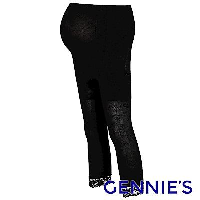 Gennies專櫃-孕婦專用彈性蕾絲時尚七分襪(GM42)