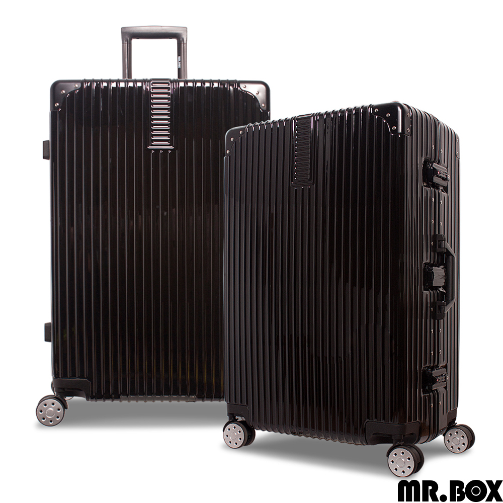 MR.BOX 威爾 28吋PC鏡面鋁框行李箱 旅行箱-黑色
