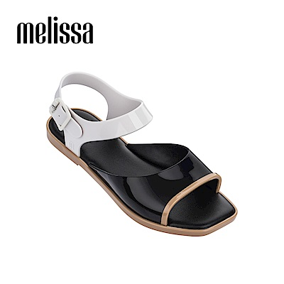 Melissa 復古方頭撞色涼鞋-黑色