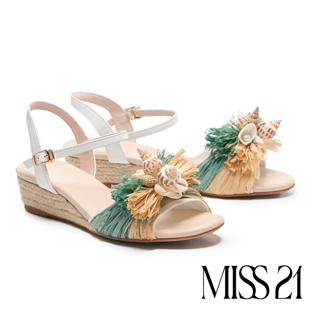 涼鞋 MISS 21 海島度假風貝殼珍珠草編楔型涼鞋-綠