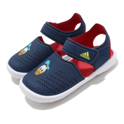 adidas 涼拖鞋 Fortaswim Stripes I 童鞋 愛迪達 魔鬼氈 快速排水 唐老鴨 小童 藍 紅 FW6057