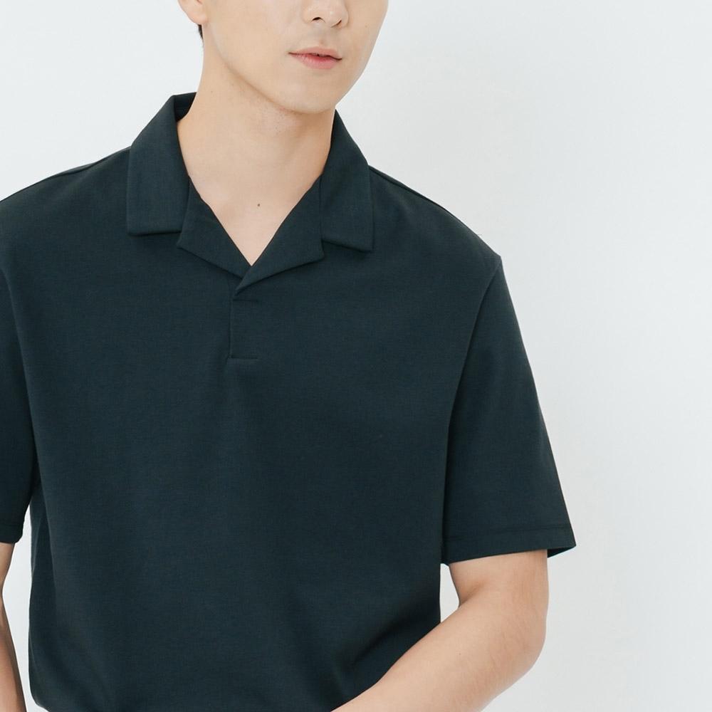 H:CONNECT 韓國品牌 男裝-簡約翻領短袖襯衫-藍
