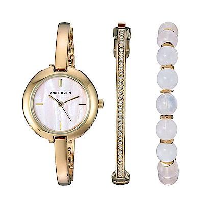 Anne Klein 人魚的眼淚優雅手錶手環套組-淡粉珍珠母貝x30mm