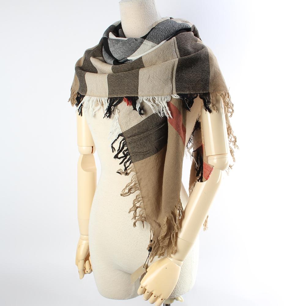 BURBERRY 經典大格紋美麗諾羊毛110X110cm方形輕盈圍巾披肩-咖啡色