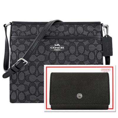 COACH 黑色大C織紋斜背包+黑色防刮皮革鑰匙收納夾