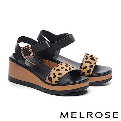 涼鞋 MELROSE 金屬風麥町紋馬毛一字厚底涼鞋-咖