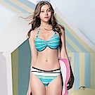 聖手牌 泳裝 清新橫紋三件式比基尼女泳裝(大尺碼)