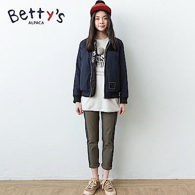 betty's貝蒂思 側邊拼布配色休閒長褲(深綠)