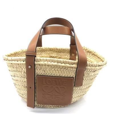 LOEWE Basket系列品牌LOGO烙印小牛皮提把竹編提籃手提/肩背包(小-焦糖棕)