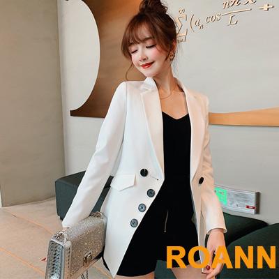 OL翻領排釦裝飾西裝外套 (共四色)-ROANN