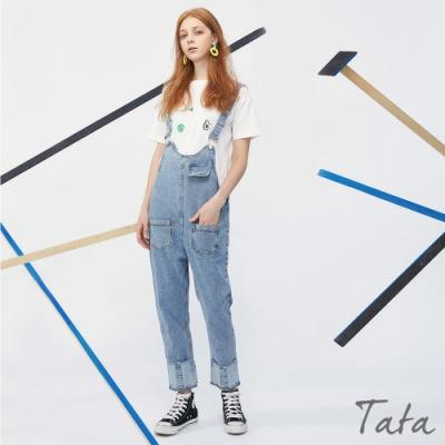 褲腳反摺牛仔吊帶褲 TATA-(S/M)