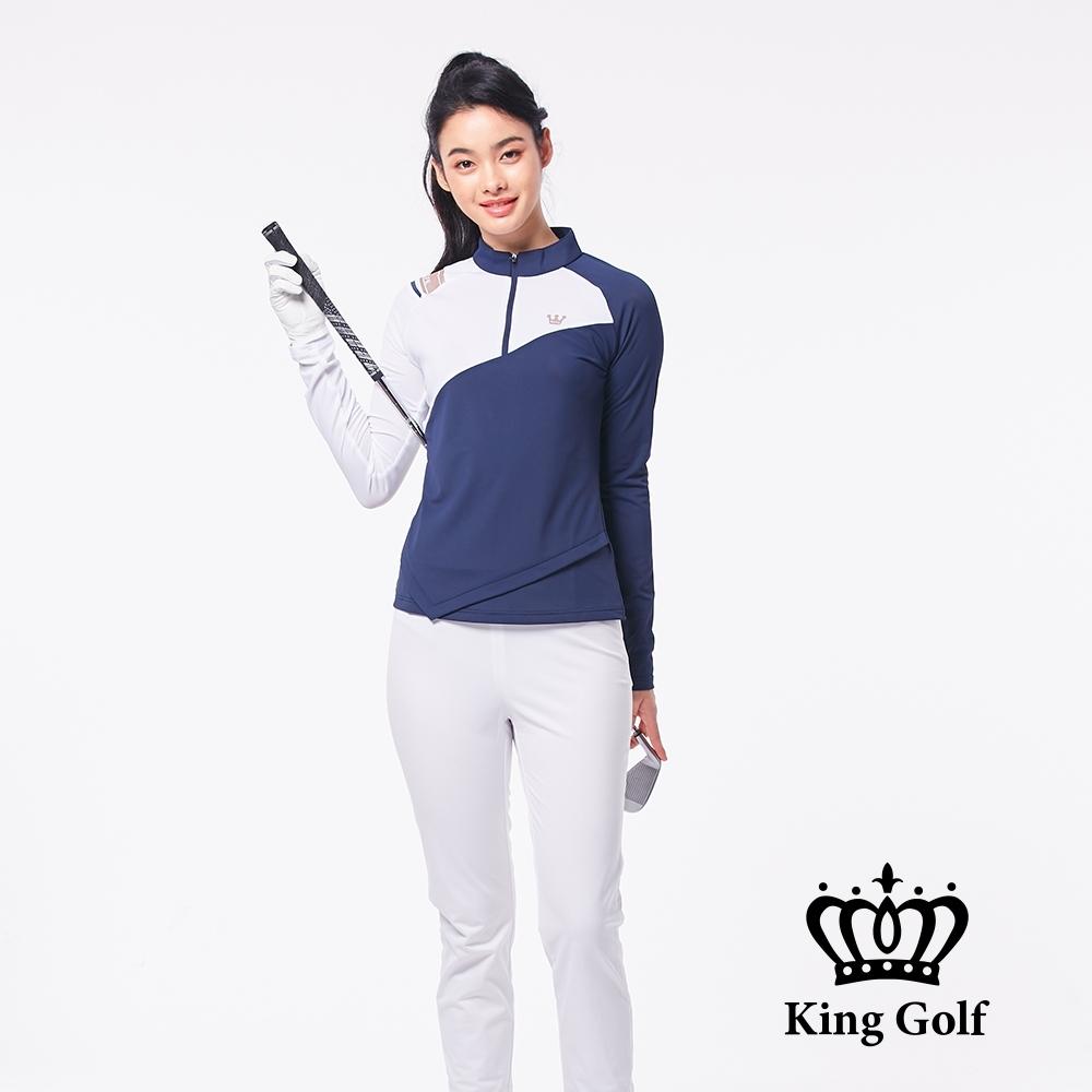 【KING GOLF】不規則下擺異色拼接立領拉鍊長袖POLO衫-藍色