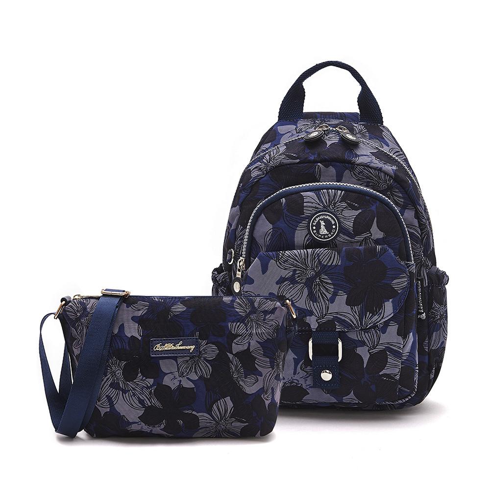 B.S.D.S冰山袋鼠-楓糖瑪芝x輕旅單肩後背兩用包+側背小包2件組 - 花繪風