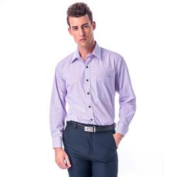 金‧安德森 紫色格紋黑扣長袖襯衫