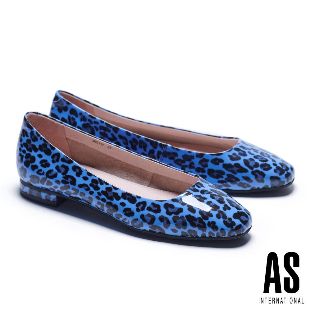 低跟鞋 AS 玩色豹紋超軟牛漆皮方頭低跟鞋-藍