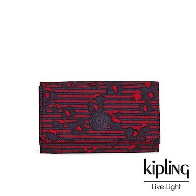 Kipling 高雅紅花條紋翻蓋長夾-YELINA