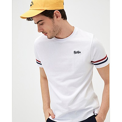 CACO-袖織帶配色短T-情侶款-(兩色)-男【SAR006】
