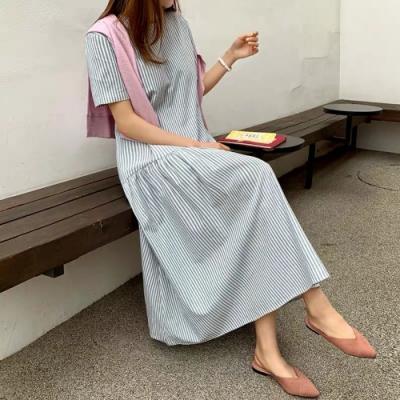 2F韓衣-簡約細條紋修身造型洋裝-2色(F)