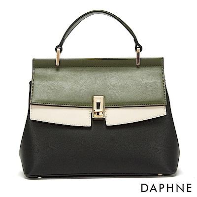 達芙妮DAPHNE-經典撞色金屬扣手提肩揹兩用包-黑