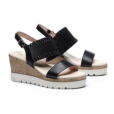 涼鞋 HELENE SPARK 簡約質感抓皺羊皮繫帶編織楔型涼鞋-黑