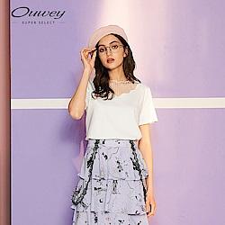 OUWEY歐薇 簡約微透膚縫飾上衣(黑/白)