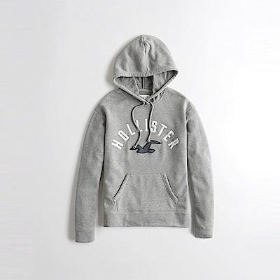 海鷗 Hollister HCO 經典電繡文字大海鷗連帽T恤(女)-灰色