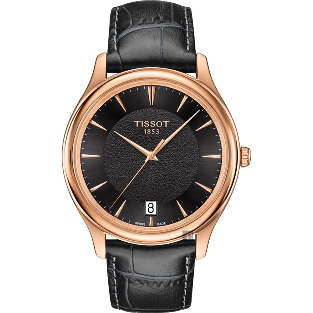 TISSOT天梭 18K玫瑰金 Fascination 石英錶-黑/40mm T9244107606100