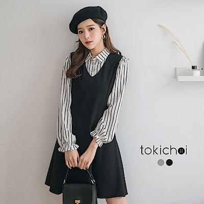 東京著衣 金秘書爆款襯衫拼素面修身假兩件洋裝-S.M(共二色)