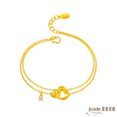 (無卡分期6期)J code真愛密碼 愛相伴黃金/水晶手鍊-雙鍊款