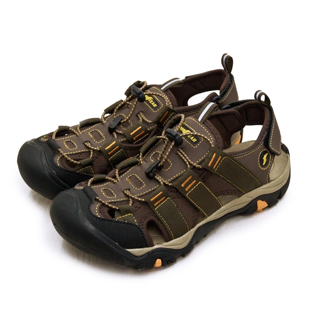 GOODYEAR 固特異專業戶外踏青越野護趾運動涼鞋 AURORA 2 曙光系列 咖棕黑 03704