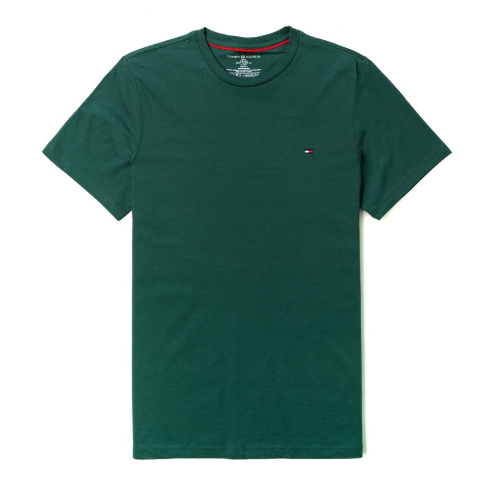 TOMMY 年度爆款經典圓領Logo短袖素面T恤-深綠色