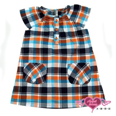 【天使霓裳-童裝】漫步森林 可愛格紋短袖小洋裝(橘灰)